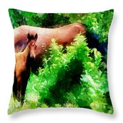 Horse Family Throw Pillow