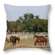 Horses Eat Hay On Ranch Throw Pillow