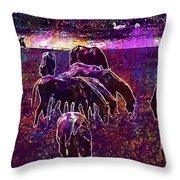 Horses Flock Coupling Ride Animals  Throw Pillow