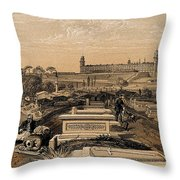 Hospital And Cemetery At Scutari, C.1854 Throw Pillow