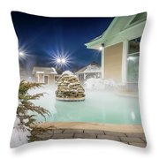 Hot Tubs And Ingound Heated Pool At A Mountain Village In Winter Throw Pillow