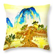 House In Mountains Throw Pillow