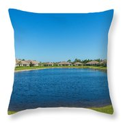 Houses Around Small Lake In North Port Throw Pillow