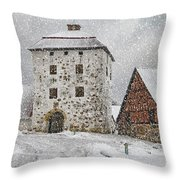 Hovdala Castle Gatehouse In Winter Throw Pillow