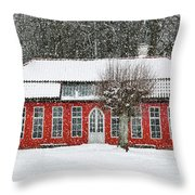 Hovdala Castle Orangery In Winter Throw Pillow