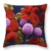 Human Blood Cells Throw Pillow by NIH / Science Source