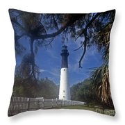 Lh 8-3 Hunting Island Lighthouse Sc Throw Pillow