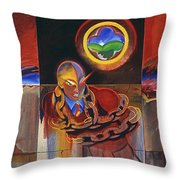 I Saw The Figure Five In Gold Throw Pillow