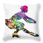 Ice Skater-colorful Throw Pillow