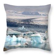 Iceland Glacier Lagoon Throw Pillow by Ambika Jhunjhunwala