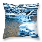 Icy Blue River Throw Pillow