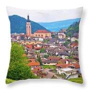 Idyllic Alpine Town Of Kastelruth On Green Hill View Throw Pillow