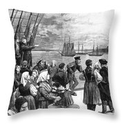 Immigrants On Ship, 1887 Throw Pillow