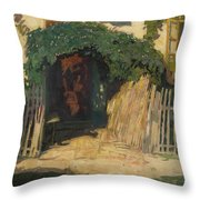 In Front Of A Cottage Throw Pillow