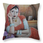 Indian Rajasthani Woman Throw Pillow