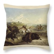 Indians Hunting The Bison Throw Pillow