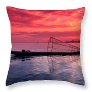 Inle Lake Fisherman Throw Pillow