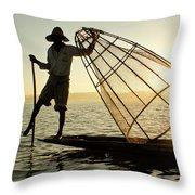 Inle Lake Fisherman Throw Pillow