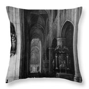Interior Of A Gothic Church At Night Throw Pillow