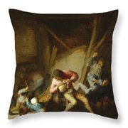 Interior With Drinking Figures And Crying Children Throw Pillow