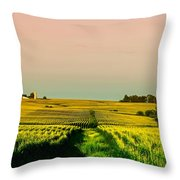 Iowa Cornfield Panorama Throw Pillow