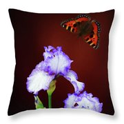 Iris And Butterfly Throw Pillow