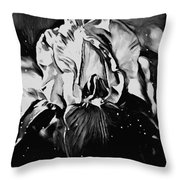 Iris In Black And White Throw Pillow