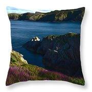 Irish Seascape Throw Pillow