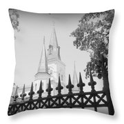 Jackson Square Fence With St. Louis Cathedral In Background Throw Pillow