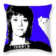 Jane Fonda Mug Shot - Blue Throw Pillow