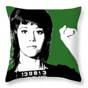 Jane Fonda Mug Shot - Green Throw Pillow