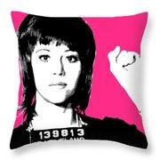 Jane Fonda Mug Shot - Pink Throw Pillow