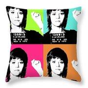 Jane Fonda Mug Shot X4 Throw Pillow
