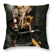 Japanese Samurai Doll Throw Pillow by Christine Till