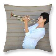 Jazz Trumpet Player. Throw Pillow
