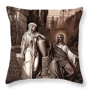 Jesus And The Woman Of Samaria Throw Pillow
