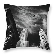 Jet Over Michigan Avenue Throw Pillow