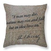 John F. Kennedy Memorial Throw Pillow