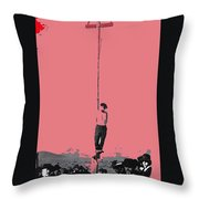 John Heath Lynched Telephone Pole February 22 1884 Collage Tombstone Arizona 1884-2012 Throw Pillow