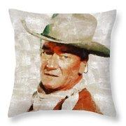 John Wayne By Mary Bassett Throw Pillow