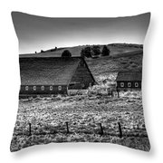 Johnson Road Barns Throw Pillow