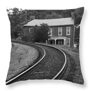 Jonesborough Tennessee - Curved Train Tracks Throw Pillow