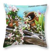 Joyeuse Saint Valentin  Throw Pillow