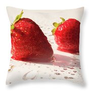 Juicy Strawberries Throw Pillow