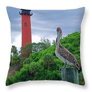 jupiter Inlet Lighthouse Throw Pillow