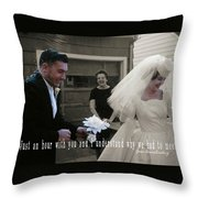 Just Married Quote Throw Pillow
