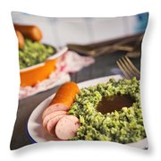 Kale With Smoked Sausage Or Boerenkool Met Worst Throw Pillow