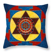 Kameshvari Yantra Blessings Sacred 3d High Relief Artistically Crafted Wooden Yantra  23in X 23in Throw Pillow