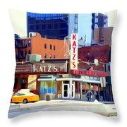 Katz's Delicatessan Throw Pillow