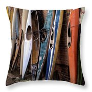 Kayaks Lined Up On Wall Throw Pillow